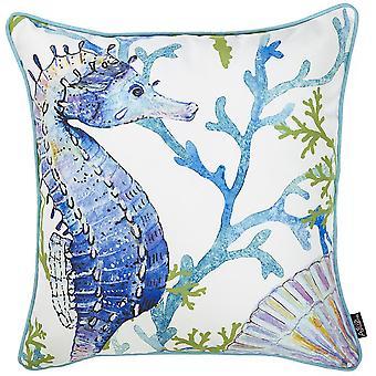 Cubierta de almohada cuadrada del caballo de mar marino