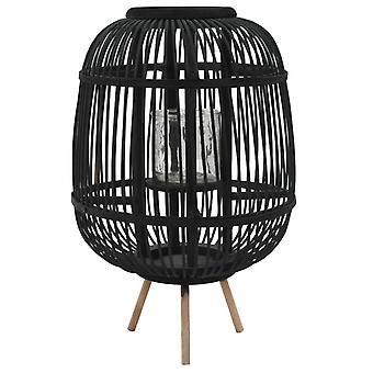 Stand candle holder Bamboo Black