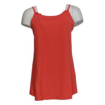 LOGO by Lori Goldstein Women's Top Cami with Embroidered Mesh Red A305446