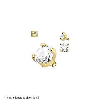 Gold 14k dermal top with round prong set gem internally threaded 14g 3mm 4mm
