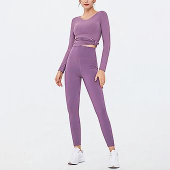 Women's Workout Outfit 2 Pieces with Waist Knot Side Yoga Leggings with Sports long sleeve tops Gym Clothes Set