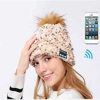 Bluetooth Music Hat, Winter Knit Hat With Velvet Raccoon Fur Ball, Suitable For Both Men And Women