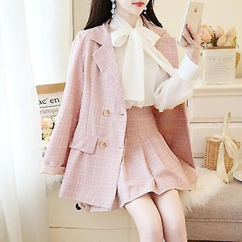 Skirt Suits, Women Plaid Blazer Jacket + Slim Mini Skirts + Bow Shirt Sets