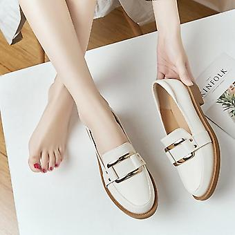 Weibliche Frühling Fransen Chunky Ferse flache Schuhe