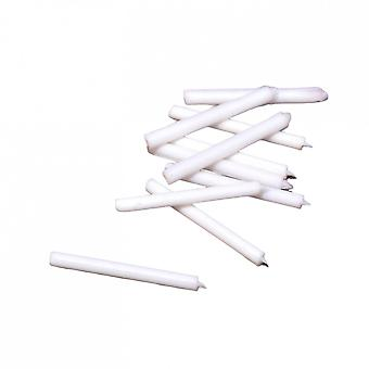 Dolls House 12 Miniature White Candles Plastic Candlestick Candelabra Accessory