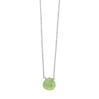 Anfänge 925 Sterling Silber facettierten Halb edelstein Teardrop Charm Halskette 41-46cm