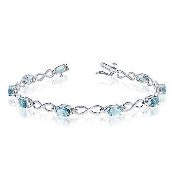 "14K White Gold Oval Aquamarine Stones And Diamonds Infinity Tennis Bracelet, 7"""