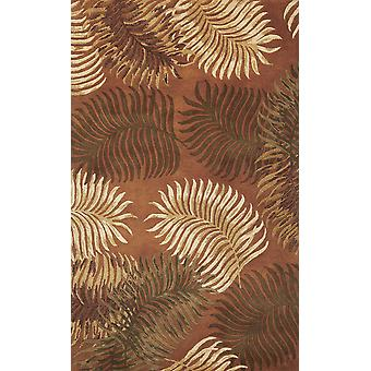 3'x4' Rust Orange Hand Tufted Tropical Leaves Indoor Area Rug