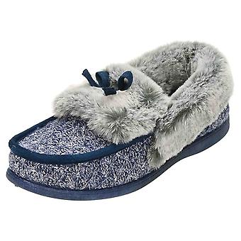 JWF Moccasin Slippers Navy Glitter House Shoes
