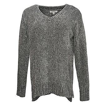 Orvis Women's Sweater Classic Collection V-Neck Pullover Gray