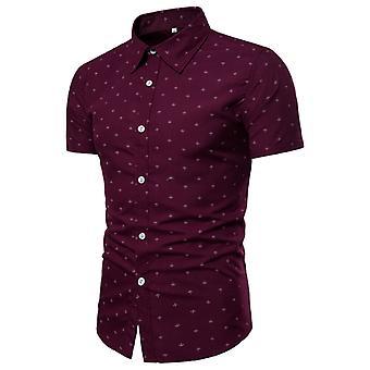 Allthemen Men's Fashion Lapel Business Slim-fit Lyhythihainen paita