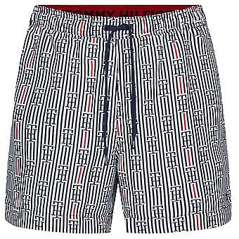 Tommy Hilfiger keskipitkän kiristysnauha tulosta uida shortsit, logo STR - valkoinen, XX-suuri