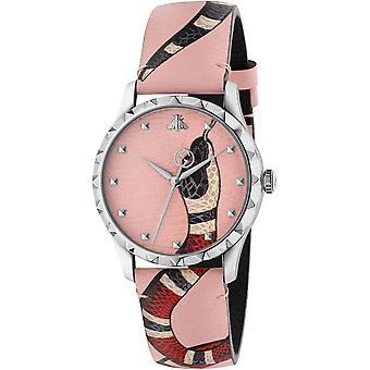 Gucci Ya1264083 Pastel Pink Kingsnake Print Dial Unisex Leather Watch