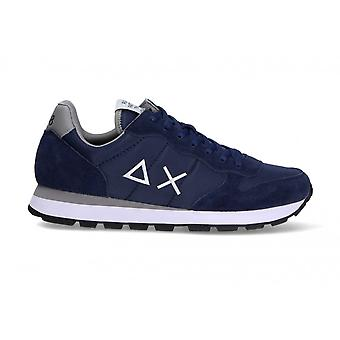 Running Sun68 Tom Solid Suede/ Nylon Blue Navy Sneaker Us21su08 Z31101
