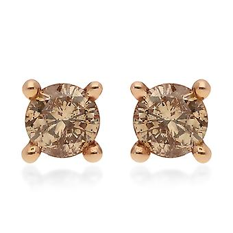 Champagne Diamond I3 Stud Earrings for Women 9ct Rose Gold SGL Certified 0.25ct