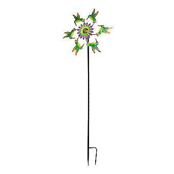 Metalli kolibrit ja kukkapuutarha Twirler Wind Spinner Stake 70 tuumaa korkea