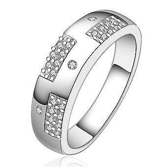 الفضة الطلاء الأبيض سواروفسكي بافيلي خاتم أنيق