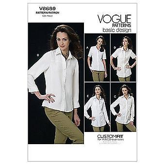 Vogue Coser Patrón 8689 Se pierde camisas ajustadas Tamaño 6-12 Sin cortar