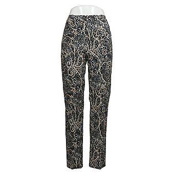 Isaac Mizrahi Live! Women's Pants Regular Paisley Slim-Leg Brown A390357