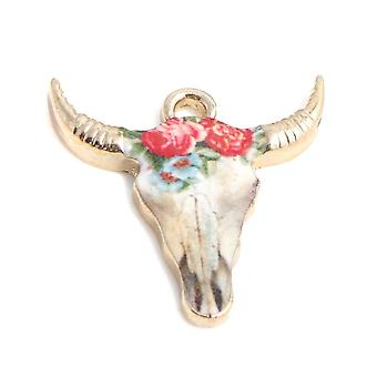 Handmade Findings Zinc Based Alloy Charms, Pendant, Cow Animal Gold Plated