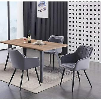 Lusso & Carmello Dining Set | Modern Dining Table | Velvet Dining Chair | Modern Set |  (oak & Dark Grey)