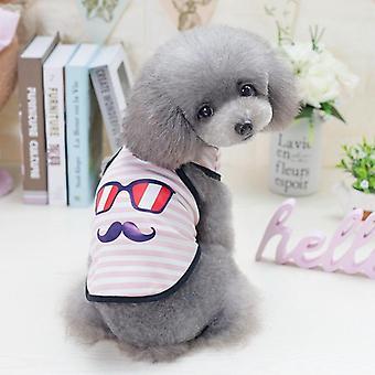 Dog cat clothes summer stripes eyes beard shirt vest