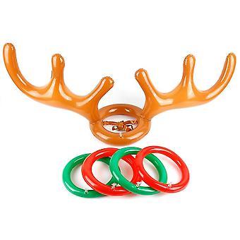Poro antler joulu lelu, puhallettava hatturengas, Toss Holiday Party Peli