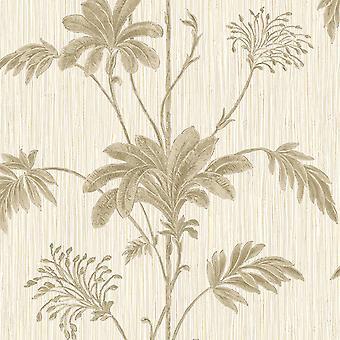 Grasscloth Textured Palm Vinyl Wallpaper Cream / Gold Belgravia 2913