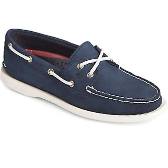Sperry Authentic Original Ladies Leather Boat Shoes Navy