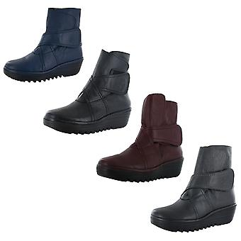 FLY London Womens Rada Leather Wedge Boot Shoes