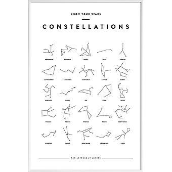 JUNIQE Print -  Constellation Chart - Astronomie & Weltraum Poster in Schwarz & Weiß