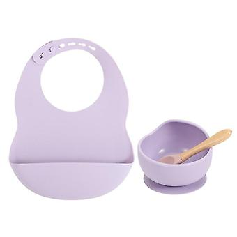 Baby silicone feeding bowl and bib set with wooden spoon, silicon bib and non slip suction bottom