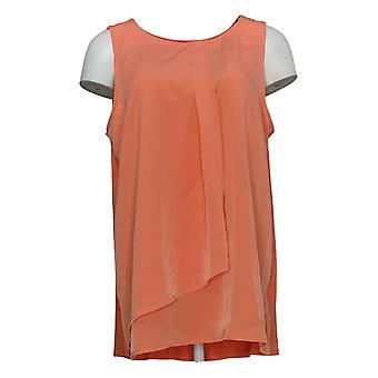DG2 by Diane Gilman Women's Top L Layered Drape Front Tank Orange 740980