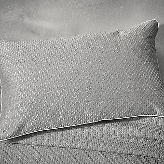 Tahra Embroidered Cotton Cushion In Silver Grey