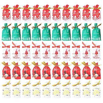 50pcs entzückende Kunststoff Weihnachten Süßigkeiten Geschenk Aufbewahrung Tasche Cookie Bundle Tasche für Home Party Bankett (gemischter Stil)