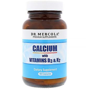 Dr. Mercola, Kalcium med vitamin D3 & K2, 90 kapslar