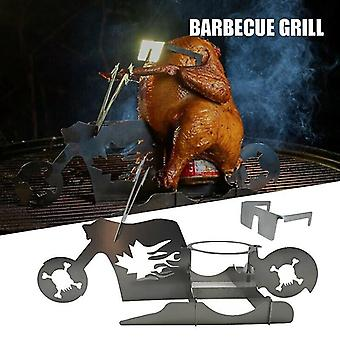 BBQ Portable Chicken Stand Beer American Motorcycle Stainless Steel Rack With Glasses Indoor Outdoor