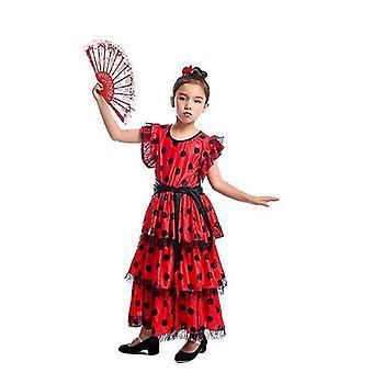 Spanish Flamenco Skirt Dancer Performance Costume(L)