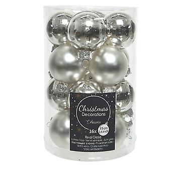 16 3.5cm Silver Glass Christmas Tree Bauble Decorations