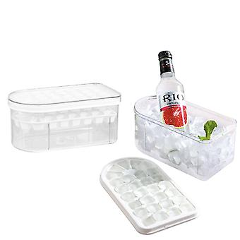 الجليد صنع قالب الجليد مربع مكعب علبة الثلج مع أداة المطبخ غطاء قابل للإزالة