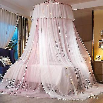 Double-layer Princess Dome Hanging Type Ceiling Round Mosquito Net(Pink And White)