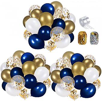 Navy Blue And Gold Confetti Balloons Party Decoration Supplies 70pcs 12 Inch Gold Metallic Pearl White Balloonswith 2 Balloon Strips, 2 Foil Ribbon