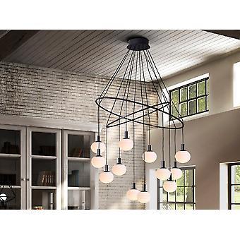 Schuller Global Designer 12 Light Globe Ring Plafond hanger, Mat Zwart Afwerking, Instelbare Hoogte, Dimbaar
