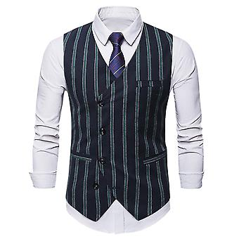 Allthemen Men's Casual Striped Single-breasted Vest All-match Suit Vest