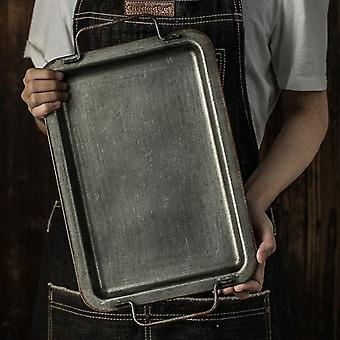 Household storage containers european retro square iron plate with handles metal vintage bread tray|storage trays