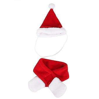 Pet Cat Hat And Scarf Set, Christmas Pet Costume S