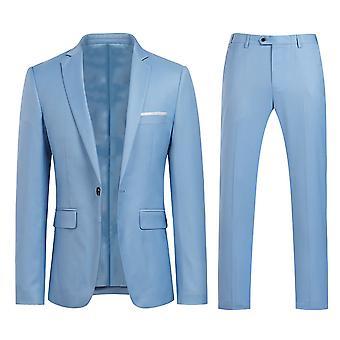 Homemiyn Miesten yhtenäinen väri Yksi painike Jaettu Kaksiosainen Puku (yläosa + housut) 9 Värit