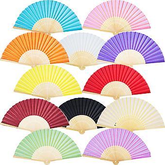 12 Pcs Hand Fan Foldable Paper Fan (multicolor)