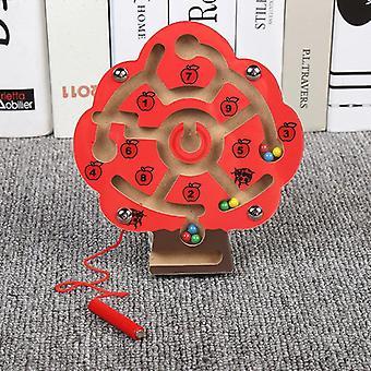 Brinquedos infantis Jogo de quebra-cabeça de labirinto de caneta magnética de madeira para estimular o cérebro-(árvore)
