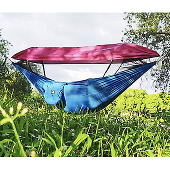 ハンモックアウトドアモスキートサンシェーディングスピードオープンフルネットダブルポータブルピクニックスイング(シェードクロス付き)270*140cm